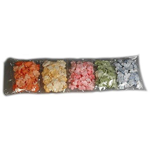 Papier-Blumen Blüten 5 Farben je 50 Stk sortiert in 3 Größen - Streublumen Streudeko Hochzeit Taufe