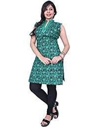 Thari Choice Women Multi Colored Sleeveless Cotton Printed Kurtis For Women And Girls