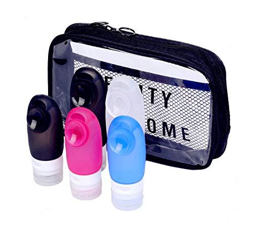 (Reiseflaschen Set TSA genehmigt, auslaufsicher Silikon nachfüllbar Reisecontainer Schläuche BPA frei, Saug hängende Tasse für Shampoo, Zustand Toilettenartikel mit PVC-Kulturbeutel (3 oz + 2 oz 5PCS))