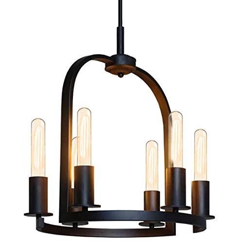 SUNFLOWER Vintage Industrie Schmiedeeisen Ring Kerze Kronleuchter 6 Flamme E27 Edison Beleuchtung Kreative Bar Retro Lampe