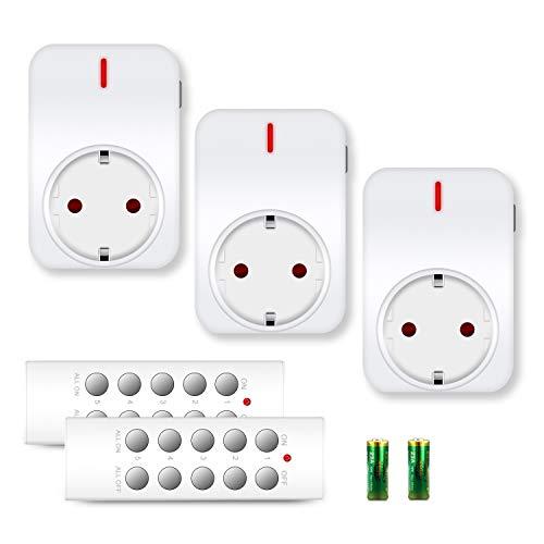 funksteckdosen set benon B2111 Funksteckdosen-Set mit Fernbedienungen, 3er Set, 2300W für Licht & Haushaltsgeräte, bis 30m Reichweite