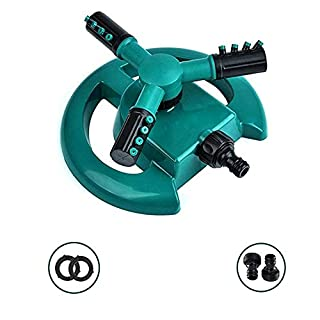HTLY SPR Water Sprinkler, Automatic lawn sprinkler 360°Rotating for Large Lawn Area with 3 Arm Round Sprayer, Hose Easy to Connect.