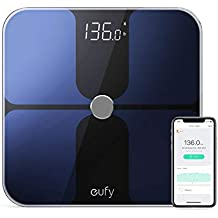 Eufy BodySense Smart Scale with Bluetooth, Large LED Display, Weight/Body Fat/BMI/Fitness Body Composition Analysis, Tempered Glass Surface, Black, lbs/kg/st Units (Renewed)