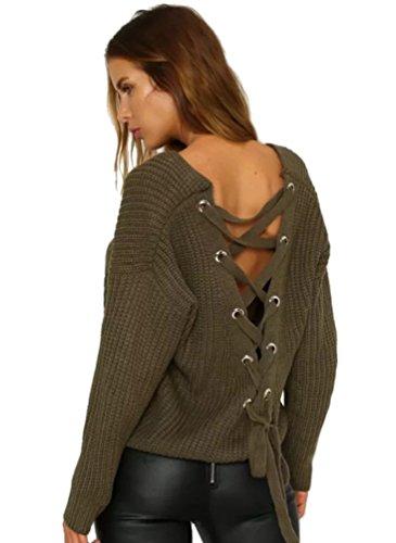 YAANCUN-Donna-Design-Hollow-V-collo-Profondo-Camicia-Manica-Lunga-Felpa-Maglione-Cappotto-Pullover