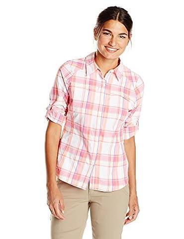Columbia Silver Ridge Long Sleeve Shirt - Tropic Pink Dobby Plaid, Small