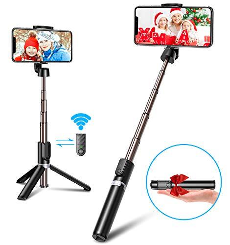 Bovon Perche Selfie Bluetooth, 3 en 1 Mini Trépied Smartphone Extensible Selfie Stick Monopode en Aluminium avec Télécommande sans Fil pour iPhone 11 Pro Max/XS Max/XR/X/8, Galaxy Note 10/S10/S9, etc