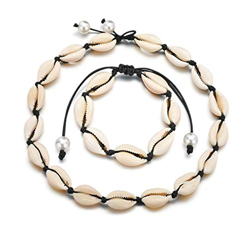 Bigsweety Frauen Böhmischen Stil Shell Halskette Armband, Einfache Kurze Handgemachte Süße Choker Halsketten Set Schmuck, Schwarz (16 Schmuck Sweet Silber)