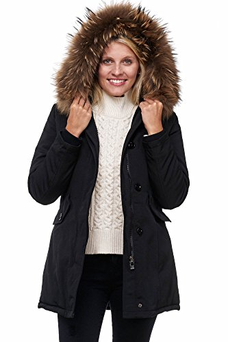 Elara Damen Winterparka | Jacke mit Echt Pelz / Echt Fell Kapuze | Designer Damenjacke | Gefütterte Outdoor Mantel | chunkyrayan, Größe 40, Farbe Schwarz (Pelz-jacken Echter)