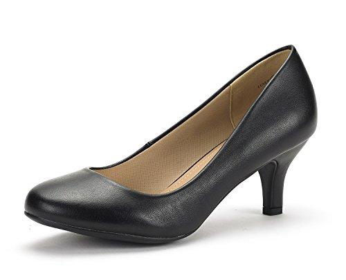 DREAM PAIRS LUVLY Zapatos Tacón Mujer Negro PU 38.5