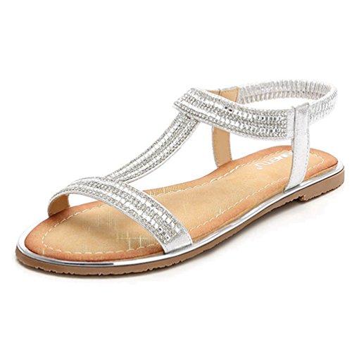 JRenok Damen Glitter Thong Flach Sandalen Elastische Knöchelriemen Gladiator Römische Sandale Casual Sommer Strandschuhe (Kette Kette Sandale Thong)