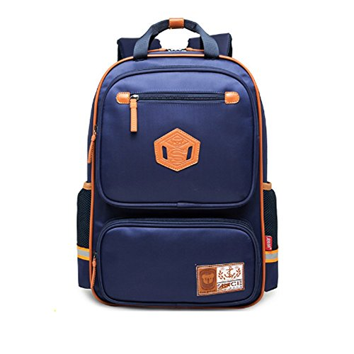 YAAGLE Rucksack Damen und Herren Schulrucksack unisex Schultasche wasserdicht Kinderrucksack sicher leicht Schultertasche schwarz dunkelblau(groß)