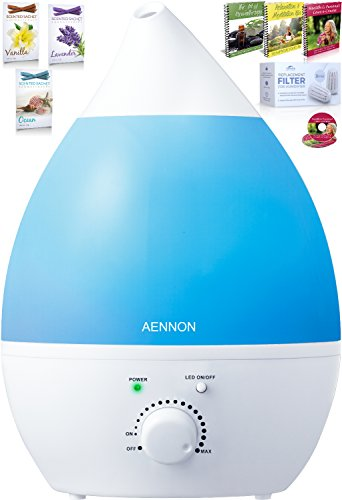 Aennon Cool Mist Humidifier - Whisper-Quiet with 7 Color LED Lights For Your Home, Office, Bedroom, Baby Room - Ultrasonic Humidifier Comes With 3 Extra Filters   More