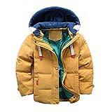 Enfant Doudoune à Capuche en Duvet de Canard Chaud d'hiver Fille et Garçon Veste Blouson Manches Longues Ski Jaune 9-10 Ans