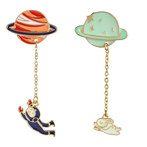 HDCooL 2 Pcs Enamel Pin Sets Cute Cartoon Brooch Needle Set Planet Pin Badge Novelty Art Deco Jewellery Label Jacket Collar Backpacks DIY Accessories Gift for Woman and Girls - Girl Cami