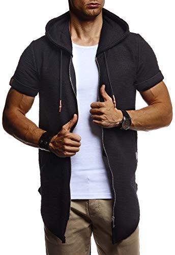 Leif Nelson Herren Sommer Jacke mit Kapuze Sweatjacke T-Shirt Slim Fit Basic Baumwolle-Anteil | Basic Männer Kapuzenjacke | Kapuzenshirt Hoodie-Sweater Kurzarm lang | LN8301 Schwarz X-Large