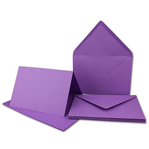 DIN B6 Faltkarten Set mit Umschlägen   Violett   10 Sets   115 x 170 mm   ideal für Einladungskarten, Hochzeit, Taufe, Kommunion, Konfirmation   formstabil   Marke: FarbenFroh®