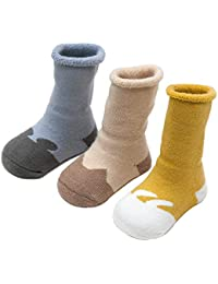 Set 3 Bebé calcetines fantasía para niños niñas grueso calcetines algodón respirable 0-36 Meses Antideslizantes