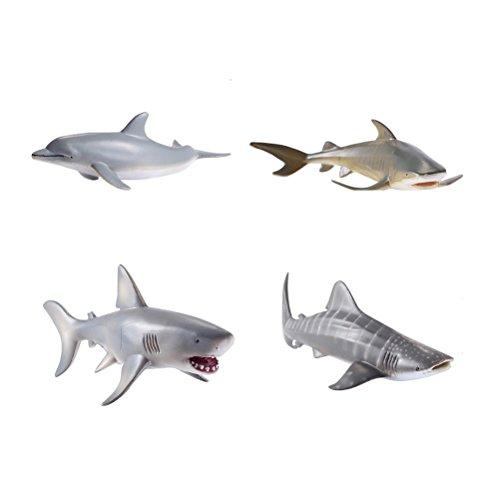 Toyvian 4pcs océano Animales mar plástico Mini Animal