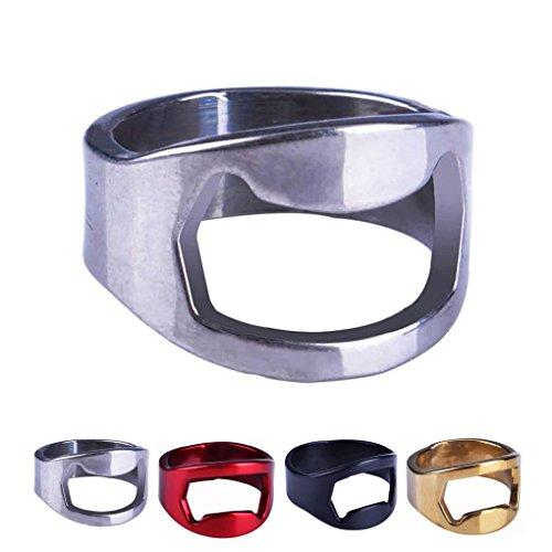 QHGstore argento sveglio di metallo bottiglia dell'anello di barretta birra della barra apri Strumento di rimozione Cap Opener