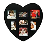 Fotogalerie 30x30cm Fotorahmen Herz aus Holz für 7 Fotos - In schwarz lackiert - Bilderrahmen Bildergalerie Fotocollage Herzform
