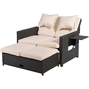 Lounge sofa rattan  Amazon.de: Roma Poly Rattan Lounge Sofa inklusive Kissen ...