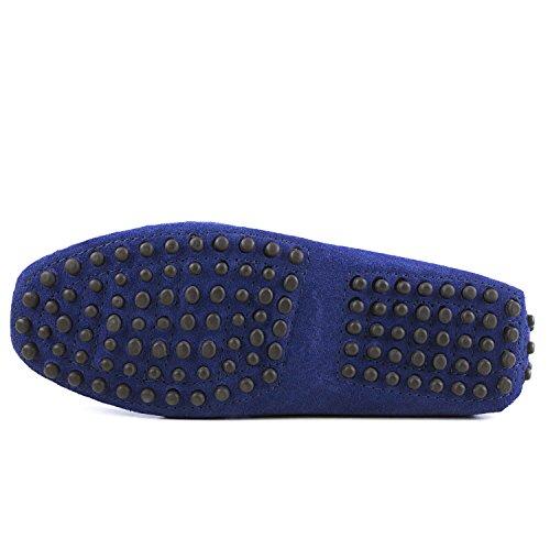 Shenduo - Mocassins pour homme cuir - Loafers confort - Chaussures de ville D7158 Bleu