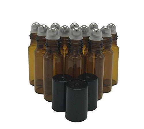 HugeStore 12 Stück 5ml Klein Leer Glasflaschen Ätherisches Öl Flaschen Rollenkugel Glasflaschen Braun -