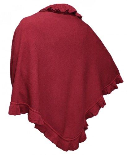 ncho Umhang Stola Schultertuch Tuch Strickponcho Tracht Überwurf Trachtenponcho gestrickt Volants Schal Cashmink rot (Rot-poncho)
