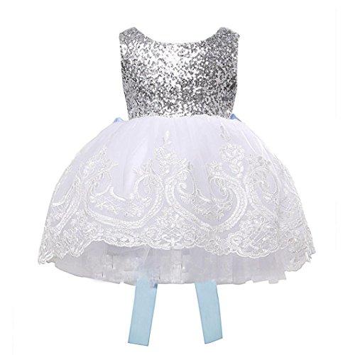 Vestidos ninas, Switchali Infantil Bebé Niña Princesa vestido grande Bowknot vestido Encaje Tutú Vestido de flores Vestidos la dama de honor de Fiesta de Navidad ropa para chica (110 (2~3años))
