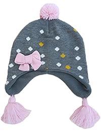 Beanie Berretti Pompon con Paraorecchie Bambini Ragazzi Ragazze Autunno  Inverno Cappello di Maglia Lana 05402e52802e