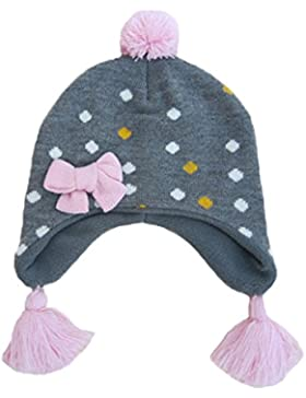 Beanie Berretti Pompon con Paraorecchie Bambini Ragazzi Ragazze Autunno Inverno Cappello di Maglia Lana