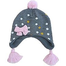 Beanie Berretti Pompon con Paraorecchie Bambini Ragazzi Ragazze Autunno Inverno  Cappello di Maglia Lana 9dc41727ffb1