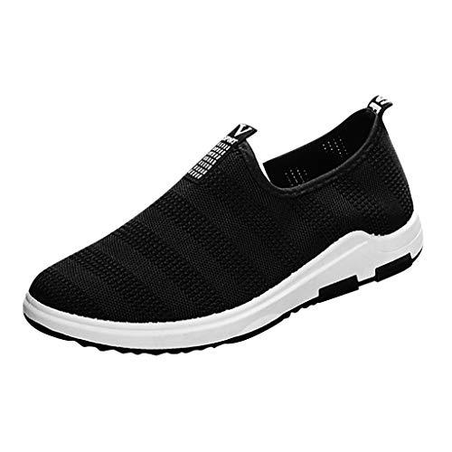 Sportschuhe für Herren/Skxinn Männer Slip On Sneaker Laufschuhe, Fitness Casual Turnschuhe Ultraleichte Mesh Atmungsaktive Straßenlaufschuhe Outdoor Mode Freizeitschuhe Ausverkauf(Schwarz,42 EU)