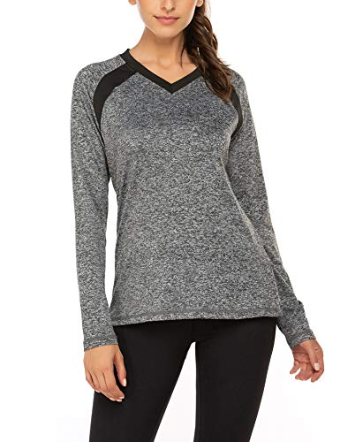 Damen Laufshirt Sport Training Langarm Shirt mit Quickdry Sport Funktionsshirt Fitness Workout Longsleeve Atmungsaktive Laufshirt, Grau, M