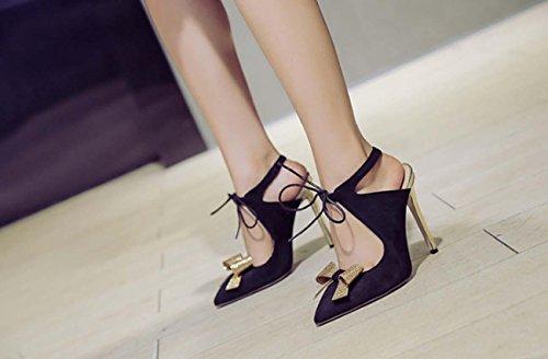 NobS Femmes Chaussures En Daim à L'Arc Chaussures Plates Chaussures De Ballet Chaussures à Talons Hauts Talons Hauts Souliers à Talons Hauts Black