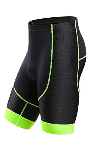 Letook Pantalones Cortos Ciclismo para Hombres Bicicleta Traspirable con Gel Acolchado Anti-UV y Cómodo(Negro&Verde, L)