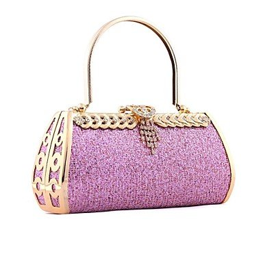 pwne Womenleather Typ Event / Party Abend Tasche Pink/Gold Fuchsia