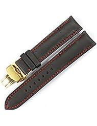 istrap 22mm Piel de vacuno Correa de Reloj de pulsera de reloj Acero cierre de implementación de mariposa con botón Marrón 22