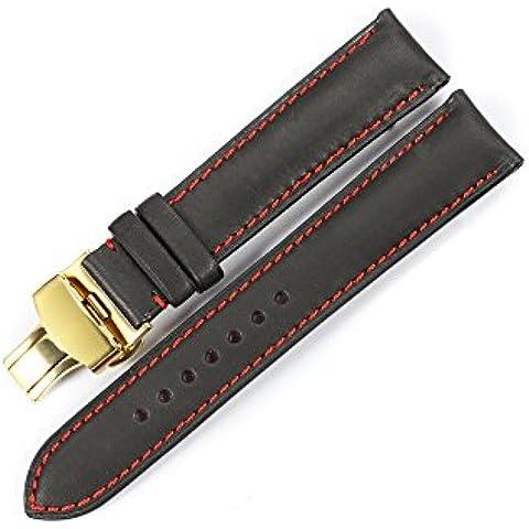 iStrap 22mm Pelle di vitello cinturino braccialetto orologio in acciaio pulsante farfalla distribuzione chiusura marrone 22