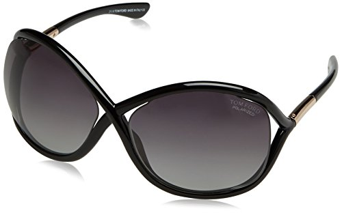 Tom Ford Damen FT0009 01D 64 Sonnenbrille, Schwarz (Nero Lucido/Fumo Polar),