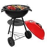 SunJas Barbecue/Griglia a Carbone BBQ Grill Carrello, Barbecue Grill con 2 Vassoio, Grill 2 Ruote, RED