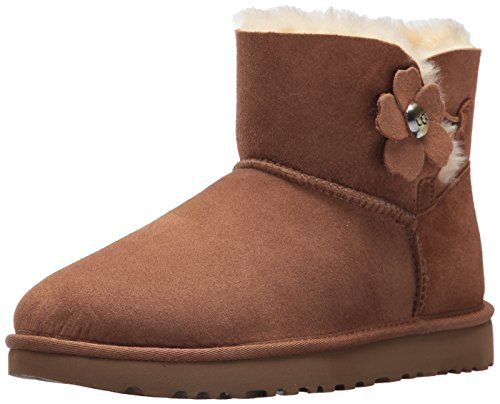 UGG Mini Bailey Button Poppy, Stivali da Neve Donna, Marrone (Chestnut), 40 EU