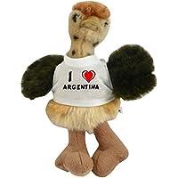 Avestruz personalizado de peluche (juguete) con Amo Argentina en la camiseta (nombre de