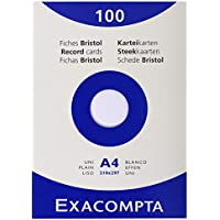 Exacompta Exacom Cards A4 Blank White - Estuche de 100 fichas cartulina, 210 x 297 mm, color blanco