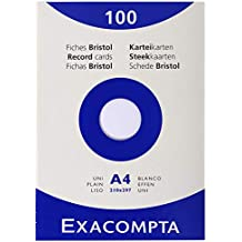 Exacompta Exacom Cards A4 Blank White - Estuche de 100 fichas cartulina, 210 x 297 mm, color blanco