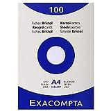 Exacompta 13306E Packung (mit 100 Karteikarten, ungelocht DIN A4, 210 x 297 mm, 205 g, blanko, ideal für die Schule) 1er Pack weiß