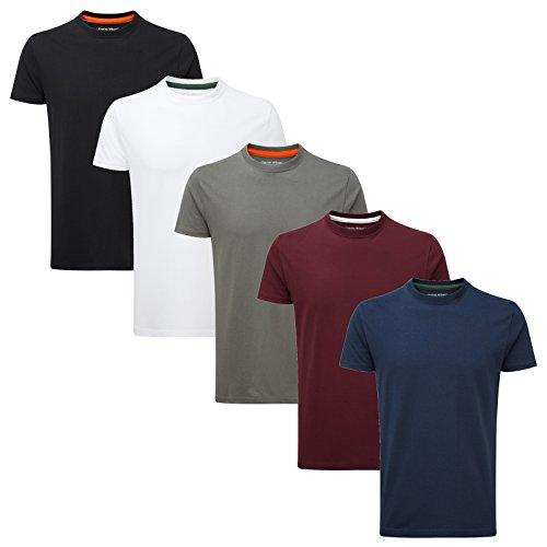 5er Packung - Charles Wilson einfarbige T-Shirts mit Rundhalsausschnitt (X-Large, Basics)