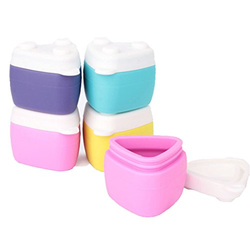 Gracelaza 4 pezzi portable impilabile bottiglia cosmetici da viaggio in silicone set - barattolo del contenitore squisito con coperchi sigillati - 4 colori e ogni capacità 30ml