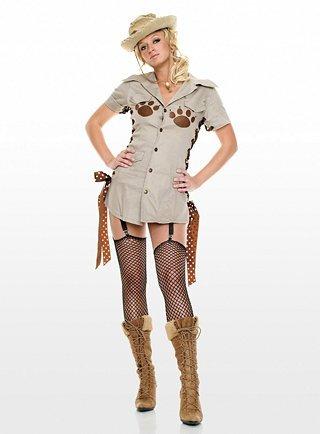 Großwildjägerin Kostüm - Gr. M/L - (Für Erwachsene Jägerin Kostüm)