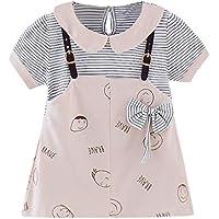 Vestidos niña Primavera | Vestido de Tirantes de Princesa con Estampado de Rayas de Dibujos Animados de Manga Corta para bebés bebés 3 Meses - 3 años